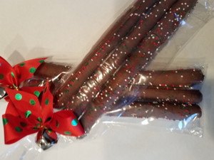 PRETZEL JINGLE STIX  - Can Be Customized - Pack of 3 - Christmas Decorated