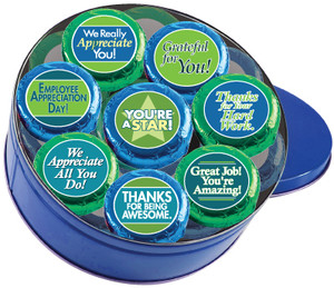 "EMPLOYEE APPRECIATION ""COOKIE TALK"" CHOCOLATE OREOs w/ MESSAGES 16 PC. TIN"
