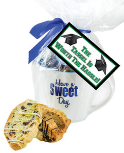 CERAMIC MUG WITH BISCOTTIS -BACK-TO-SCHOOL HANGTAG - A Great Novelty Gift !
