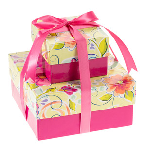 Two Tiered Gift of Treats - Bright, Happy, Festive!
