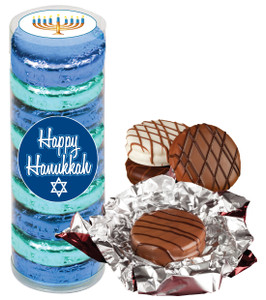"HANUKKAH ""COOKIE TALK""  CHOCOLATE OREOS - 9 Pc.CYLINDER"