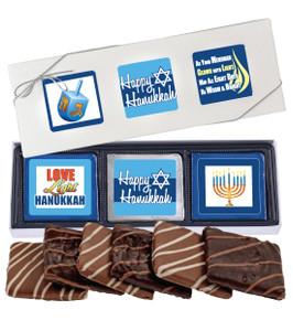 "HANUKKAH ""COOKIE TALK"" 6 Pc CHOCOLATE GRAHAM GIFT BOX"