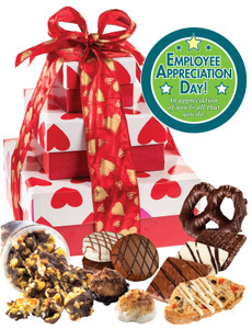 EMPLOYEE APPRECIATION - Heart Tiered Tower of Treats  - SPECTACULAR!