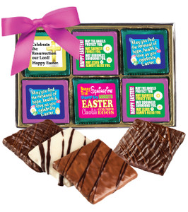 "EASTER/ SPRING ""COOKIE TALK"" CHOCOLATE GRAHAM  12 PC GIFT BOX W/ MESSAGES"