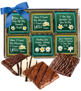"THINKING OF YOU ""COOKIE TALK""-  12 Pc CHOCOLATE GRAHAM GIFT BOX"