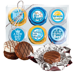 "BABY BOY ""COOKIE TALK"" CHOCOLATE OREO 6 Pc GIFT BOX"