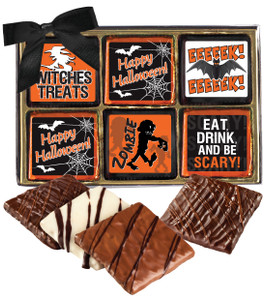 "HALLOWEEN ""COOKIE TALK""-  12 Pc CHOCOLATE GRAHAM GIFT BOX"