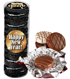"""HAPPY NEW YEAR """"COOKIE TALK"""" CHOCOLATE OREOS  9 PC.CYLINDER"""
