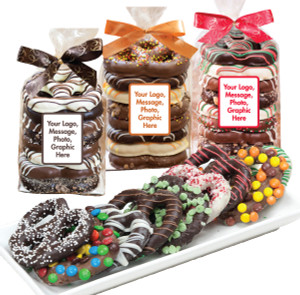 FAVORS/ BUSINESS GIFTS - Chocolate Covered Pretzels in a Bag