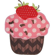 Strawberry Cupcake Applique