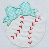 Bow Baseball Applique