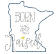 Minnesota Born and Raised Vintage and Blanket Stitch Applique
