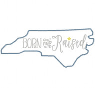 North Carolina Born and Raised Vintage and Blanket Stitch Applique