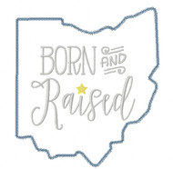 Ohio Born and Raised Vintage and Blanket Stitch Applique