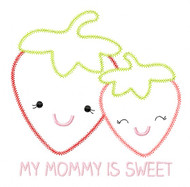 Strawberry Mom and Baby Vintage and Blanket Stitch Applique