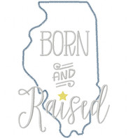 Illinois Born and Raised Vintage and Blanket Stitch Applique