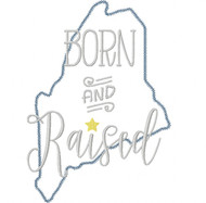 Maine Born and Raised Vintage and Blanket Stitch Applique