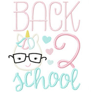 Back 2 School Unicorn Satin and Zigzag Stitch Applique