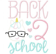 Back 2 School Unicorn Vintage and Chain Stitch Applique