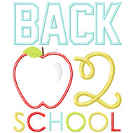 Back 2 School Apple Satin and Zigzag Stitch Applique
