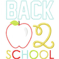 Back 2 School Apple Vintage and Chain Stitch Applique