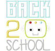 Back 2 School Robot Satin and Zigzag Stitch Applique