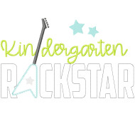 Kindergarten Rockstar Vintage and Chain Stitch Applique