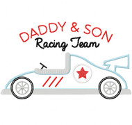 Daddy and Son Racing Team Satin and Zigzag Stitch Applique
