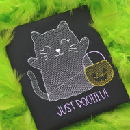 Ghost Kitty Sketch Embroidery