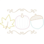 Pumpkin Leaf and Acorn Vintage and Chain Stitch Applique