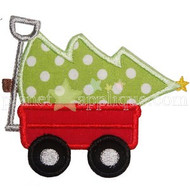 Christmas Tree Wagon Applique