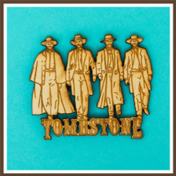 Tombstone Gunmen Wood Magnet