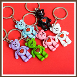 Dancing Bear Heart AZ Keychain