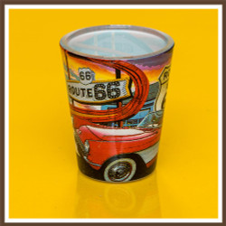 Route 66 Car Collage Shotglass