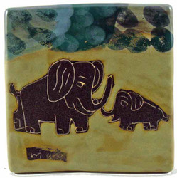 "Mara Tile Trivet 6""X6"" - Elephants"