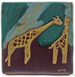 """Mara Tile Trivet 6""""X6"""" - Giraffes"""