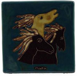 "Mara Tile Trivet 6""X6"" - Horses"