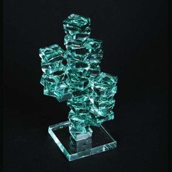 """3-Arm Stacked Glass Cactus 4"""" w/Glass Base"""