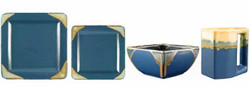 Square Dinner Set-Matte Blue-16 Piece Set