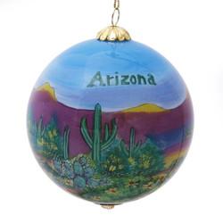"Desert Scene with Arizona Text - 3"" Ornament Set of 2"