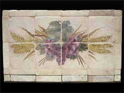 Grape & Wheat Stone Tile Mural
