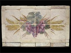 Grape & Wheat Stone Tile Mural