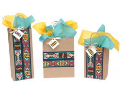 Aztec Beaded Stripe Gift Bag