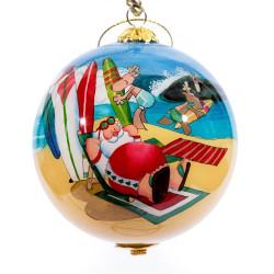 "Surfing Santa - 3"" Ornament Set of 2"