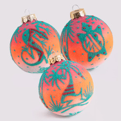 Orange & Green Sand Art Ornaments - Set of 3 - ONLY 1 SET LEFT