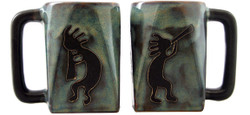 Mara Square Mug 12oz - Blue Kokopelli