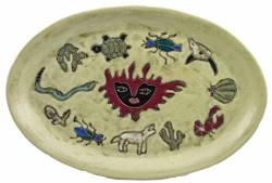 """Mara Oval Serving Platter 16"""" - Desert Earthtones"""
