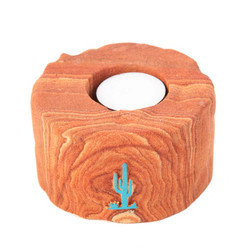 Sandstone Votive Candle Holder w/ Turquoise Saguaro