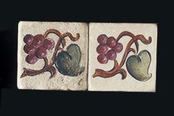 "Grape and Leaf 2""x2"" Border Tile"