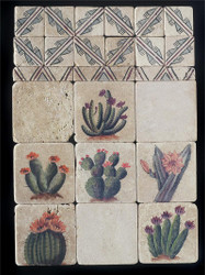 Cactus Collage Stone Tile Display